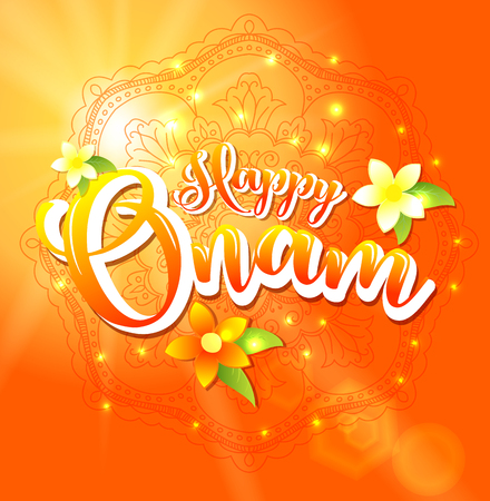 Happy Onam background with floral and lettering for South India harvest festival. Vector illustration.