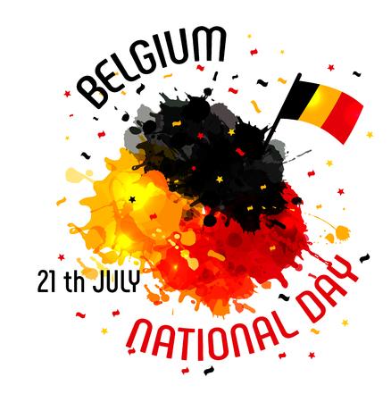 Vektorillustration, Fahne oder Plakat für Unabhängigkeitstag von Belgien. Vektorgrafik