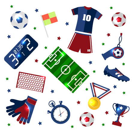 Soccer set of 3d icons with field, ball, trophy, scoreboard, whistle, gloves and boots isolated. Illustration
