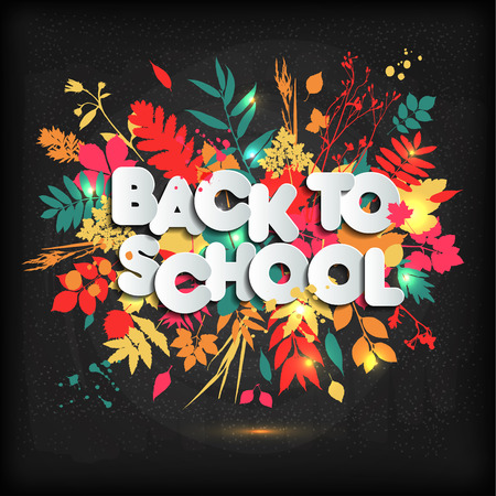3D Realistic Back to School Title Poster Design in a Blackboard with autumn leaves. Vector Illustration. Illustration