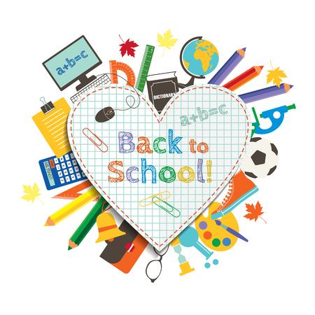 Terug naar school-poster, onderwijsachtergrond. Terug naar school-inscriptie op de achtergrond van schoolartikelen en pictogrammen