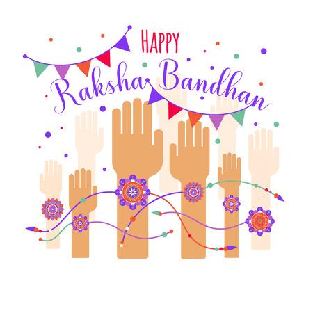 Illustration of colorful rakhi tied on hand in Raksha Bandhan