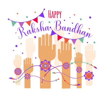 Illustration of colorful rakhi tied on hand in Raksha Bandhan