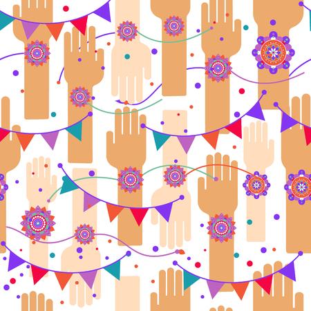 A graphic vector design for an Indian festival - Raksha Bandhan. Seamless celebration pattern.