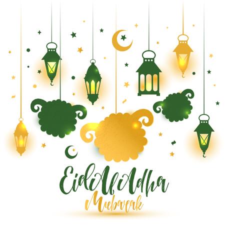Eid Al Adha Calligraphy Text with sheep illustration for eid Mubarak Celebration Background.