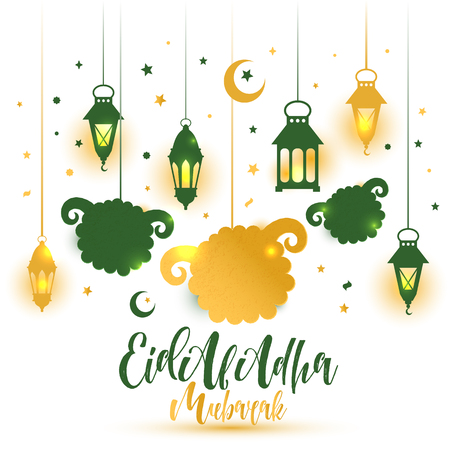 Eid Al Adha Calligraphy Text with sheep illustration for eid Mubarak Celebration Background. Illustration