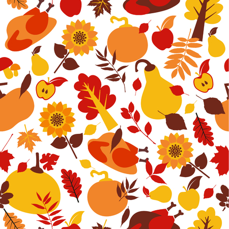 Happy Thanksgiving Day seamless pattern with holiday vector objects.