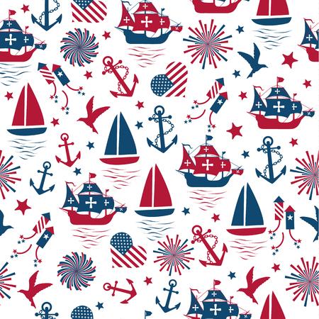 Happy columbus day. Vector illustration, seamless pattern on white background. Foto de archivo - 112037892