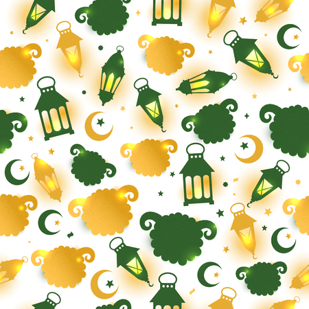Eid Al Adha seamless pattern with sheep illustration for eid Mubarak Celebration Background. Illustration