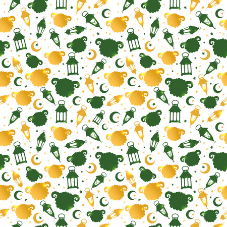 Eid Al Adha seamless pattern with sheep illustration for eid Mubarak Celebration Background.  イラスト・ベクター素材
