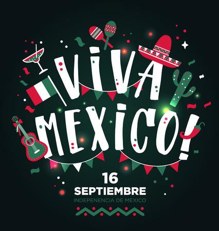 Disegno di tipo disegnato a mano Viva Mexico. Priorità bassa dell'invito della bandiera.
