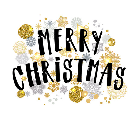 Merry Christmas gold glittering lettering design. Vector illustration on white background.