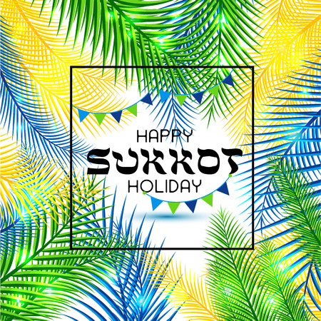 Vector illustration for the Jewish Holiday Sukkot . Hebrew greeting for happy sukkot. Stock Illustratie