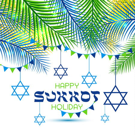 Happy Sukkot Holiday. Jewish Holiday Sukkot. Vector Jewish new year. Autumn Fest. Rosh Hashana Israel Sukkah. Palm tree leaves frame.