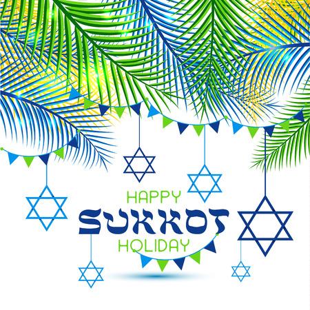 Joyeuses fêtes de Souccot. Fête juive de Souccot. Vector nouvel an juif. Fête d'automne. Rosh Hashana Israël Soucca. Cadre de feuilles de palmier.