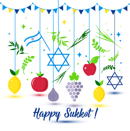 Happy Sukkot Holiday. Jewish Holiday Sukkot. Vector Jewish new year. Autumn Fest. Rosh Hashana Israel Sukkah. Palm tree leaves and fruits.