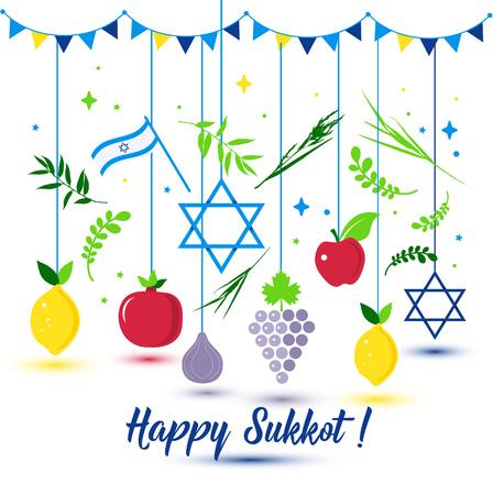 Happy Sukkot Holiday. Jewish Holiday Sukkot. Vector Jewish new year. Autumn Fest. Rosh Hashana Israel Sukkah. Palm tree leaves and fruits. Standard-Bild - 108073596