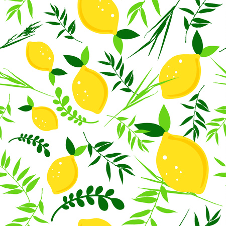 Happy Sukkot seamless pattern. Jewish holiday huts endless background. Repeating texture with etrog, lulav, Arava, Hadas.