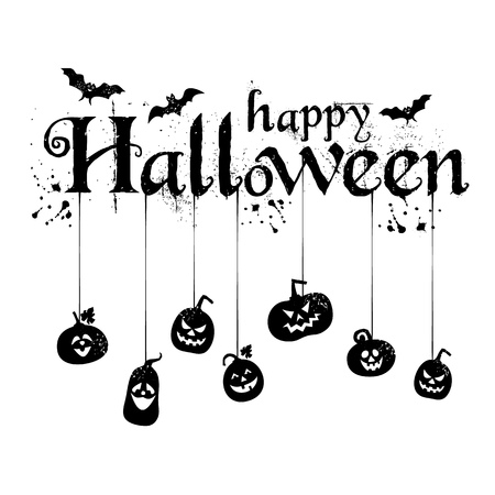 Happy Halloween Text Banner, Vector with spiders.