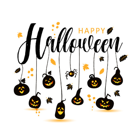 Happy Halloween Text Banner, with spiders
