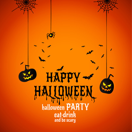 Happy Halloween Text Banner or invitation, Vector with spiders on bright background.