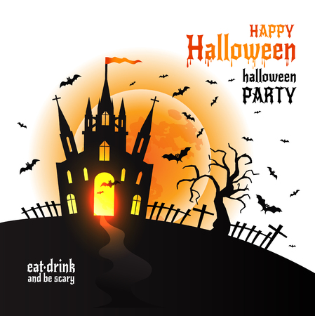 Halloween Dracula s castle. Vector illustration on white.