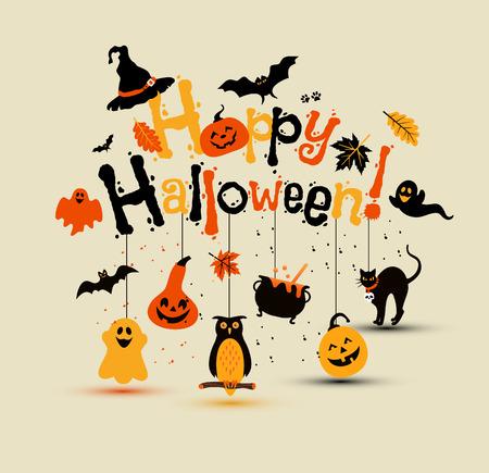 Halloween Vector Design with Happy Halloween fun Lettering.