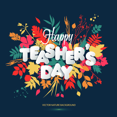 Happy Teacher s Day Layout Design with volume paper Letters. Illustration