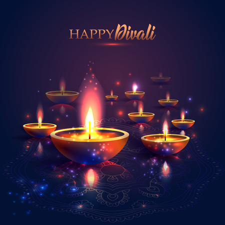 Happy Diwali festival of lights. Retro oil lamp on background night sky, Illustration in vector format. Stockfoto - 108073602