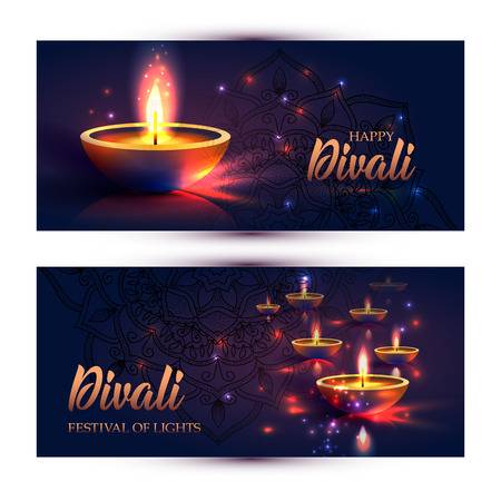 Happy Diwali festival of lights. Retro oil lamp on background night sky, Illustration in vector format. Banners horizontal format.