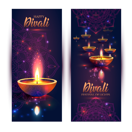 Felice festa delle luci di Diwali. Lampada a olio retrò sul cielo notturno di sfondo, illustrazione in formato vettoriale. Banner formato verticale.