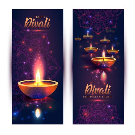 Joyeux festival des lumières de Diwali. Lampe à huile rétro sur fond de ciel nocturne, Illustration en format vectoriel. Format vertical des bannières.
