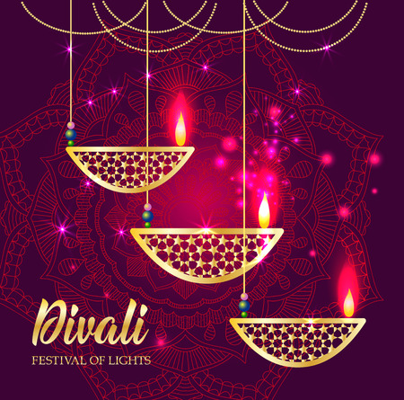 Happy Diwali festival of lights. Retro oil lamp on background night sky, Illustration in vector format.