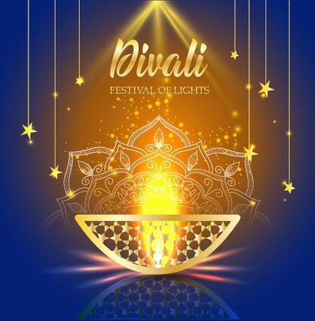 Gelukkig Diwali-festival van lichten. Retro gouden olielamp op achtergrondnachthemel, Illustratie in vectorformaat.