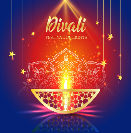 Happy Diwali festival of lights. Retro oil gold lamp on background night sky, Illustration in vector format. Stock Illustratie