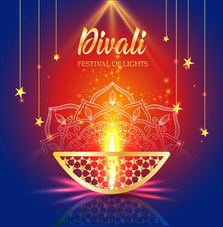 Happy Diwali festival of lights. Retro oil gold lamp on background night sky, Illustration in vector format. Stock Illustratie