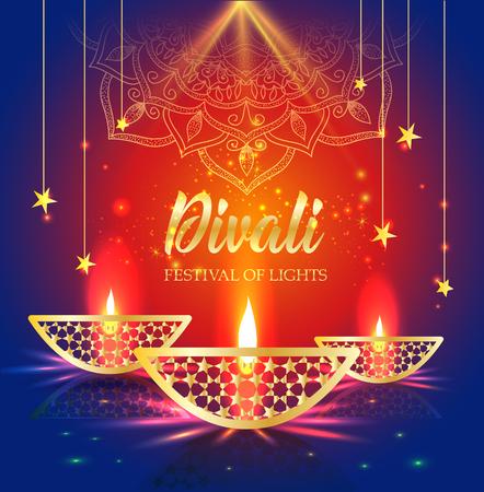 Gelukkig Diwali-festival van lichten. Retro gouden olielamp op achtergrondnachthemel, Illustratie in vectorformaat. Vector Illustratie