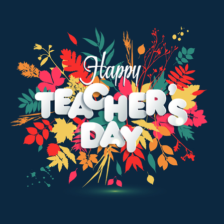 Happy Teacher s Day Layout Design with volume paper Letters.  イラスト・ベクター素材