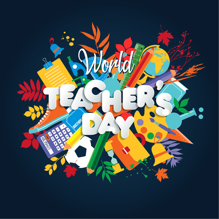 Happy Teacher s Day Poster-Konzept mit hellen Symbolen. Vektorgrafik