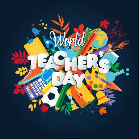 Koncepcja plakat szczęśliwy dzień nauczyciela z jasnymi ikonami. Ilustracje wektorowe