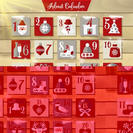 Calendario de Adviento de Navidad o cartel. Elementos de diseño de vacaciones de invierno.