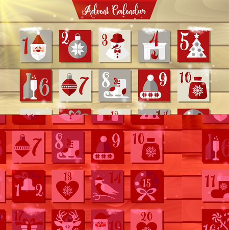 Christmas Advent Calendar or Poster. Winter Holidays Design Elements.