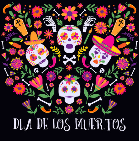 Day of the dead, Dia de los moertos, banner with colorful Mexican flowers.