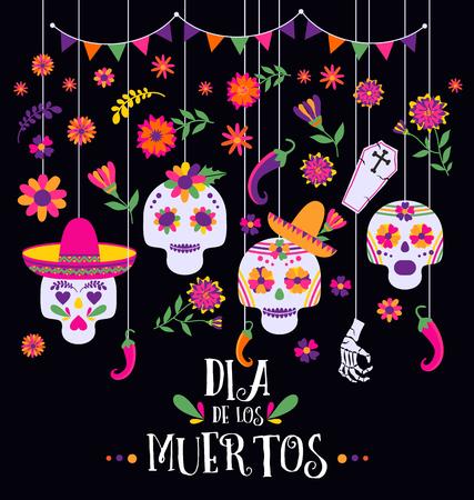 Jour des morts, Dia de los muertos, bannière avec des fleurs et des icônes mexicaines colorées.