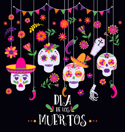 Day of the dead, Dia de los muertos, banner with colorful Mexican flowers and icons. Fiesta, holiday poster, party flyer, funny greeting card Stock Photo