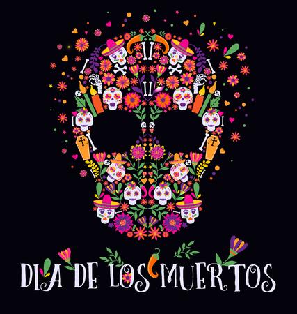 Vektorillustration eines kunstvoll verzierten Tags des Toten Dia de los Muertos-Schädels. Vektorgrafik