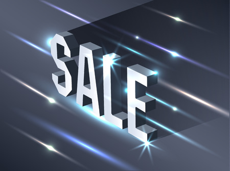 Dark banner for black Friday sale. Metallic isometric text bright billboard on black background. Illustration
