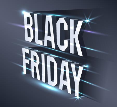 Dark banner for black Friday sale. Metallic isometric text bright billboard on black background with neon lights . Illustration