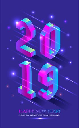 Capodanno 2019 in stile isometrico. Bandiera isometrica di vettore del numero 2019 in gradiente intenso con iscrizione di saluto di felice anno nuovo.