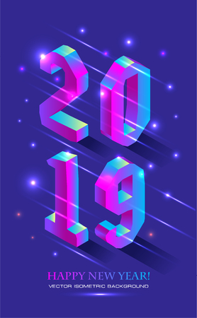 New Year 2019 in Isometric style. Vector isometric banner of number 2019 in brught gradient with greeting inscription of Happy New Year.